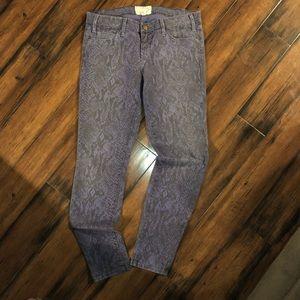 current Elliott blue snake print skinny jeans 28